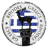 Grunge rubber stamp with the Rhodes Island,. Greece written inside, vector illustration Stock Photo