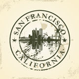 Grunge rubber stamp with San Francisco, California Royalty Free Stock Images