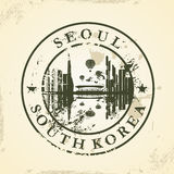 Grunge rubber stamp with Seoul, South Korea Stock Image