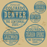Grunge rubber stamp set Colorado Stock Photos