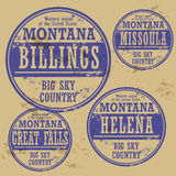 Grunge rubber stamp set Montana. Grunge rubber stamp set with names of Montana cities Stock Image