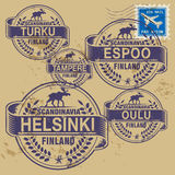 Grunge rubber stamp set. With names of Finland cities Stock Photo