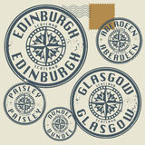 Grunge rubber stamp set. With names of Scotland cities royalty free illustration