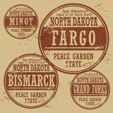 Grunge rubber stamp set North Dakota Royalty Free Stock Image