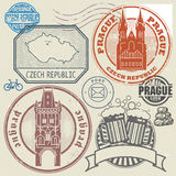 Grunge rubber stamp set with text and map of Czech Republic Royalty Free Stock Photography
