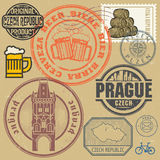 Grunge rubber stamp set with text and map of Czech Republic Royalty Free Stock Photos