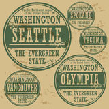 Grunge rubber stamp set Washington Royalty Free Stock Images
