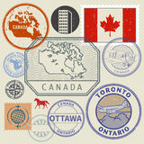Grunge rubber stamp and signs set with the name of Canada. Grunge rubber stamp and signs set with the name and map of Canada, North America, vector illustration Stock Photography