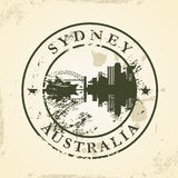 Grunge rubber stamp with Sydney, Australia. Vector illustration Royalty Free Stock Photo