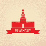 Grunge rubber stamp with symbol of Milan, Italy Royalty Free Stock Image