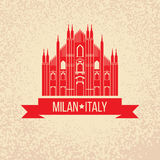 Grunge rubber stamp with symbol of Milan, Italy Royalty Free Stock Photos