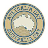 Grunge rubber stamp or tag with text Australia Day. Vector illustration Stock Image