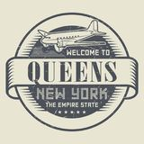 Grunge rubber stamp or tag with text Welcome to Queens, New York. Vector illustration Royalty Free Stock Photo