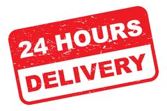 Delivery in 24 hours. Grunge rubber stamp with text 'delivery 24 hours' in upper case letters with red and white  background Royalty Free Stock Images