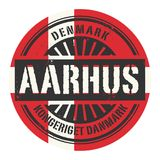 Grunge rubber stamp with the text Denmark, Aarhus. Vector illustration royalty free illustration