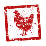 Grunge rubber stamp with the text 100 percent chicken written in. Side Royalty Free Stock Image