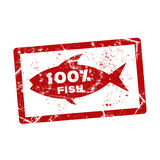 Grunge rubber stamp. With the text 100 percent fish written inside Royalty Free Stock Photography