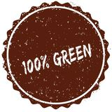 Grunge rubber stamp with the text 100 PERCENT GREEN written inside the stamp. Illustration Stock Illustration