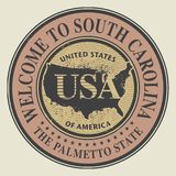Grunge rubber stamp with text Welcome to South Carolina. Vector illustration Royalty Free Stock Images