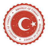 Grunge rubber stamp with Turkey flag. Royalty Free Stock Photos
