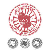 Grunge rubber stamp with two hearts Stock Image