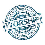 Grunge Rubber Stamp WORSHIP Stock Photos