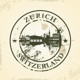 Grunge rubber stamp with Zurich, Switzerland Stock Images