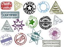 Grunge rubber stamps. Commerce messages rubber stamps Royalty Free Stock Images