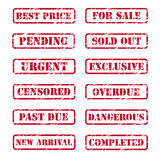 Grunge rubber stamps. Collection of grunge rubber stamps vector illustration