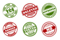 Grunge rubber stamps. Approved and deleted, yes no. Tested or danger green red vector Stock Photo