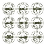 Grunge rubber stamps with european cities Royalty Free Stock Images