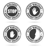 Grunge rubber stop violence against children sign on hand set il Stock Image