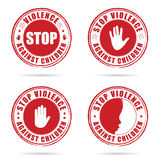 Grunge rubber stop violence against children sign in red on hand Royalty Free Stock Photos