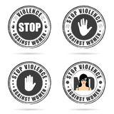Grunge rubber stop violence against woman sign on hand colorful Royalty Free Stock Photos