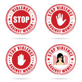 Grunge rubber stop violence against woman sign in red on hand il Royalty Free Stock Photography