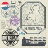 Grunge rubber travel stamp or label set Netherlands theme Royalty Free Stock Image