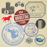 Grunge rubber travel stamp or signs set with name of United Stat. Es of America, vector illustration Royalty Free Stock Photos