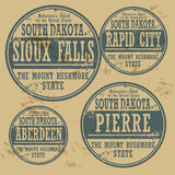 Grunge rubberzegel geplaatst Zuid-Dakota Stock Fotografie