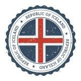 Grunge rubberzegel met de vlag van IJsland vector illustratie