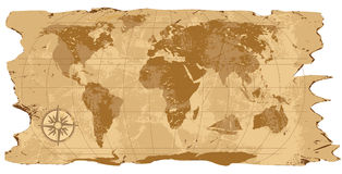 Grunge, Rustic World Map Royalty Free Stock Photos