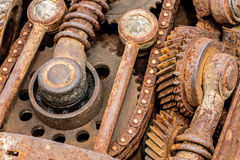 Grunge rusty metal components of industrial machine. old machine Stock Photos