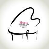 Grunge rysunkowy pianino z brushwork Obrazy Stock