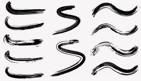 Grunge séchez la collection de courses de brosse D'isolement, vecteur Ensemble tiré par la main Images libres de droits