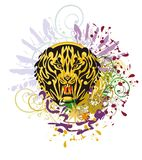 Grunge saber toothed tiger head. Saber-toothed tiger against colorful splashes with blood drops Royalty Free Stock Photography