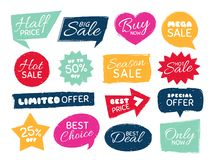 Grunge sale badge. Retro pricing sticker, grungy textured price tag and vintage best offer label badges isolated vector