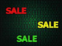 Grunge Cyber Monday Sale. Grunge sale technology background for cyber monday with computer code Royalty Free Stock Images