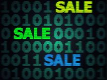 Grunge Cyber Monday Sale. Grunge sale technology background for cyber monday with computer code Stock Photography