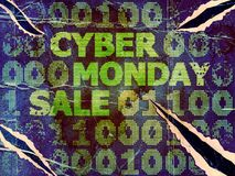 Grunge Cyber Monday Sale. Grunge sale technology background for cyber monday with computer code Royalty Free Stock Photography