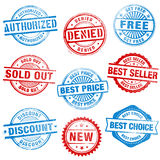 Grunge Sales Stamps. A comprehensive set of high detail Design grunge stamps stock illustration