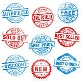 Grunge Sales Stamps. A comprehensive set of high detail Design grunge stamps Stock Images
